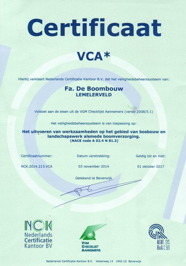 VCA certificaat voor 3 jaar